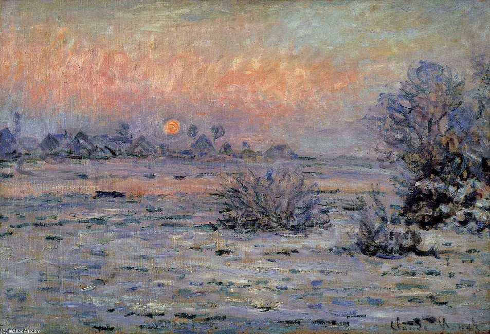 'Winter Sun, Lavacourt', olio di Claude Monet (1840-1926, France)