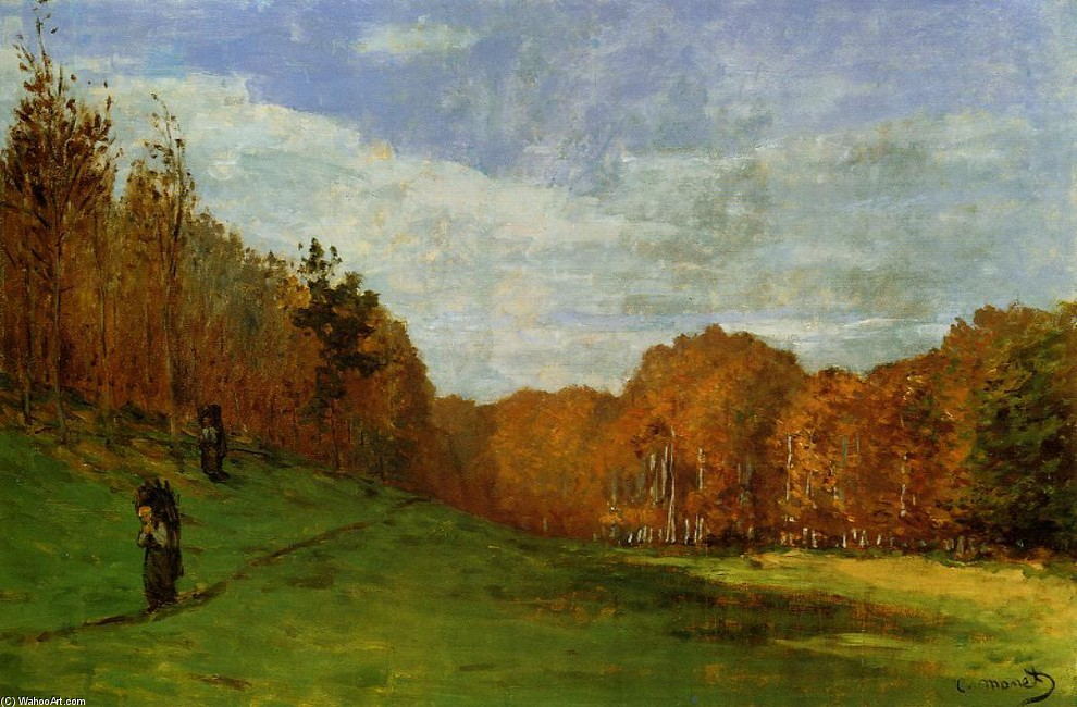 'Woodbearers in foresta di Fontainebleau', olio di Claude Monet (1840-1926, France)