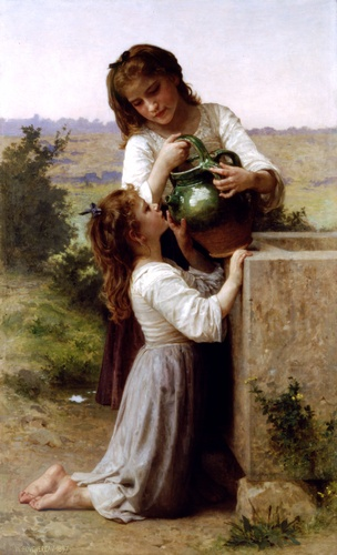 al fontana, olio di William Adolphe Bouguereau (1825-1905, France)