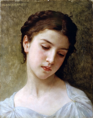 Studio Head of a Girl, olio di William Adolphe Bouguereau (1825-1905, France)