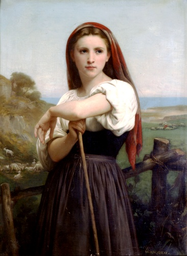 Giovane pastorella 1868, oliio di William Adolphe Bouguereau (1825-1905, France)
