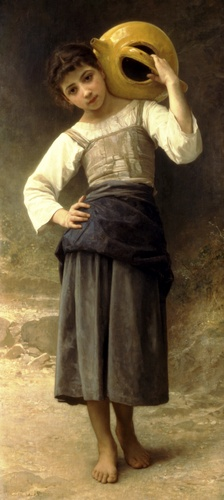 Una ragazza dalla fontana, olio di William Adolphe Bouguereau (1825-1905, France)