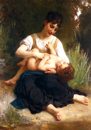 Ragazze e bambini ( Mi-Corps ) di William Adolphe Bouguereau (1825-1905, France) | WahooArt.com