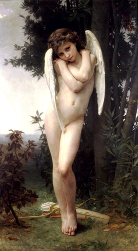 Lamour bagnato, oliio di William Adolphe Bouguereau (1825-1905, France)