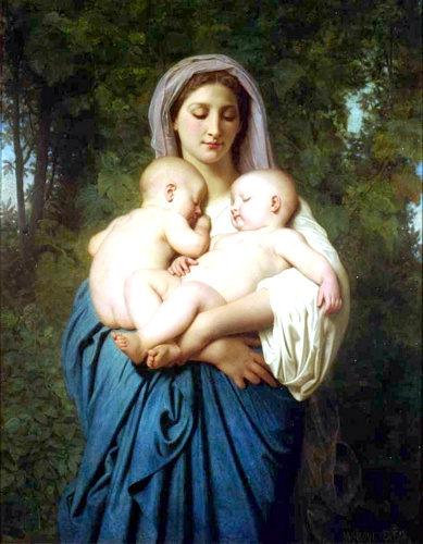 Charity 1859 di William Adolphe Bouguereau (1825-1905, France) | Stampe D'arte Su Tela | WahooArt.com