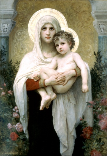 La Madonna con le rose, olio di William Adolphe Bouguereau (1825-1905, France)