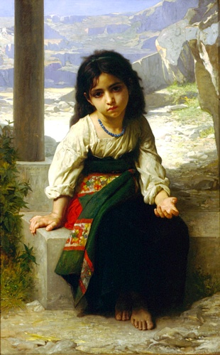 The Little Beggar, oliio di William Adolphe Bouguereau (1825-1905, France)