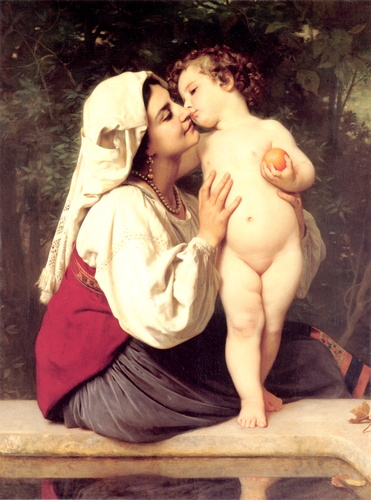 Il bacio 1863, oliio di William Adolphe Bouguereau (1825-1905, France)