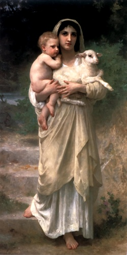Le Jeune Bergere 1897, oliio di William Adolphe Bouguereau (1825-1905, France)