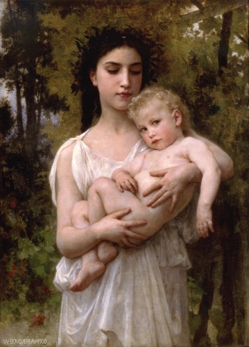 Il fratello minore 1900, oliio di William Adolphe Bouguereau (1825-1905, France)