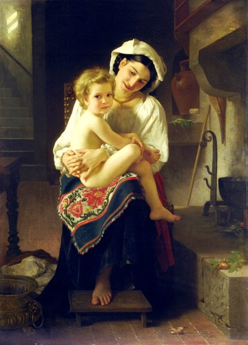 La Lever, oliio di William Adolphe Bouguereau (1825-1905, France)