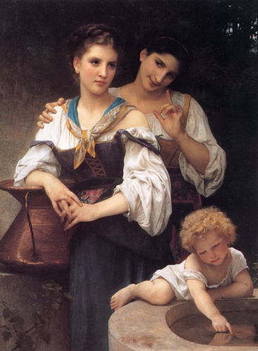 Il segreto, oliio di William Adolphe Bouguereau (1825-1905, France)