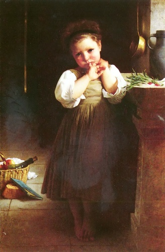 SCOLARE BAD, oliio di William Adolphe Bouguereau (1825-1905, France)