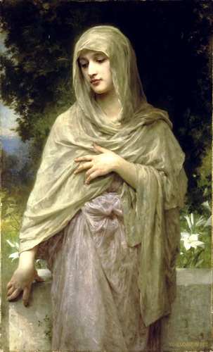 Modestia, oliio di William Adolphe Bouguereau (1825-1905, France)