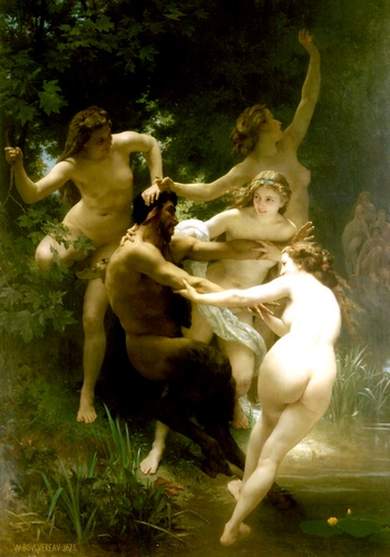 Nymphes et satyre, oliio di William Adolphe Bouguereau (1825-1905, France)