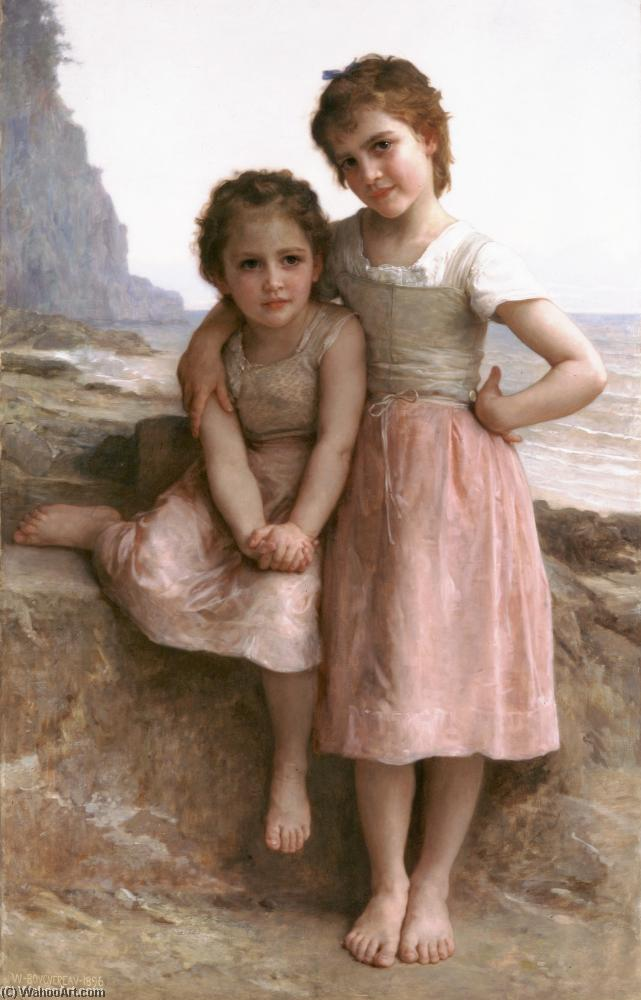 sul spiaggia, olio di William Adolphe Bouguereau (1825-1905, France)