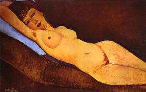 Amedeo Modigliani - nudo disteso con  azzurro  cuscino