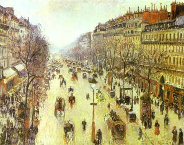 il boulevard montmartre in una mattina di sole olio di camille pissarro 1830 1903 united states. Black Bedroom Furniture Sets. Home Design Ideas