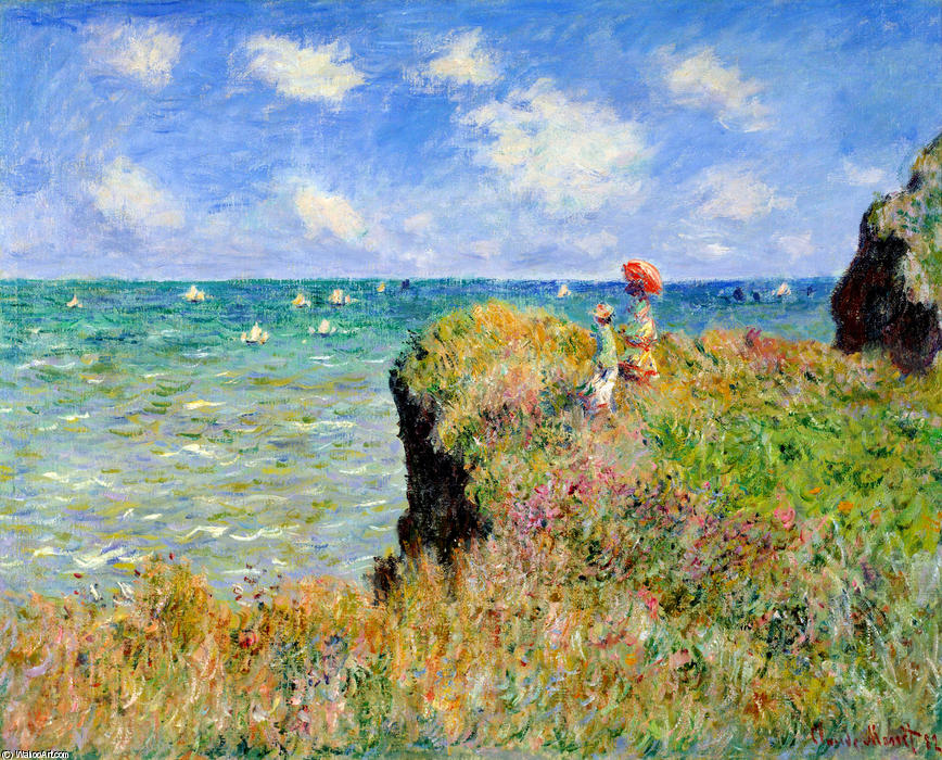 Passeggiata Clifftop a Pourville, 1882 di Claude Monet (1840-1926, France)