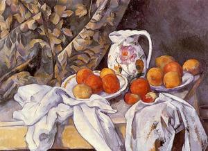 Paul Cezanne - ancora la vita con tenda e `flowered` brocca