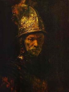 Rembrandt Van Rijn - luomo in Un  square gold  casco
