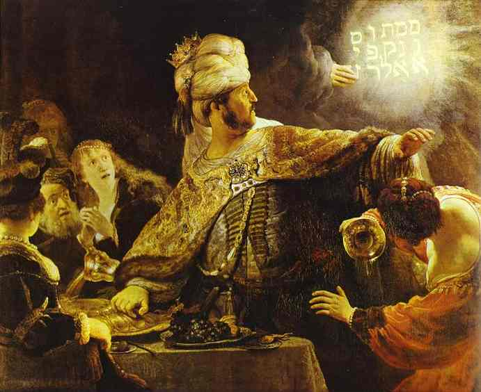 La Festa di Baldassarre, olio di Rembrandt Van Rijn (1606-1669, Dutch Republic (Now The Netherlands))