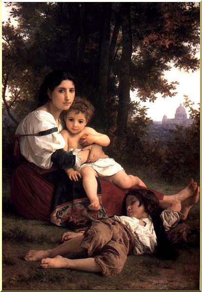 Carità, olio di William Adolphe Bouguereau (1825-1905, France)