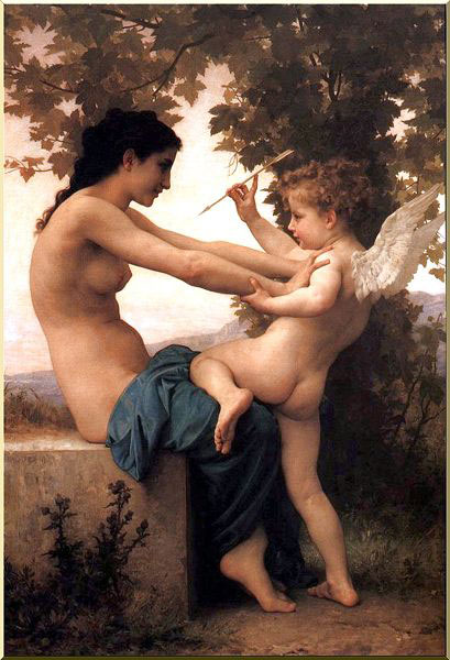 Giovane Giovane donna si difende Eros, olio di William Adolphe Bouguereau (1825-1905, France)