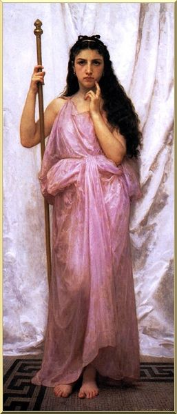 Giovane Sacerdotessa, olio di William Adolphe Bouguereau (1825-1905, France)