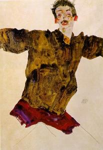 Egon Schiele - Self-Portrait con outstretched Arms1911