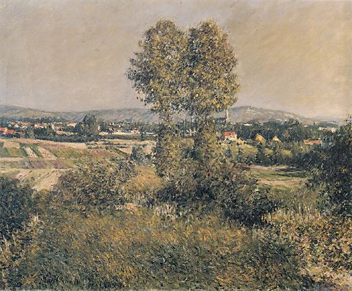 paesaggio a argenteuil, olio su tela di Gustave Caillebotte (1848-1894, France)