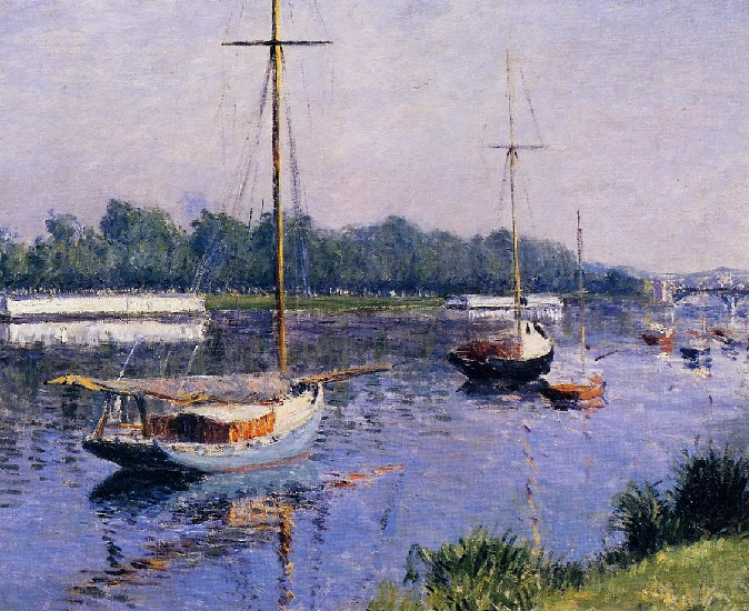 il `basin` a argenteuil, olio di Gustave Caillebotte (1848-1894, France)