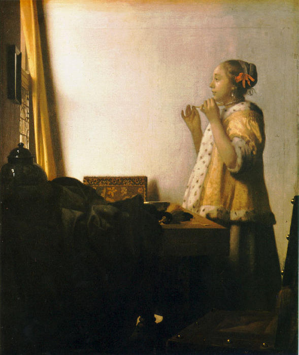 Donna con una collana di perle di Jan Vermeer (1632-1675, Netherlands)