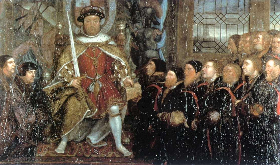 Enrico viii e il barbiere surgeons olio di hans holbein