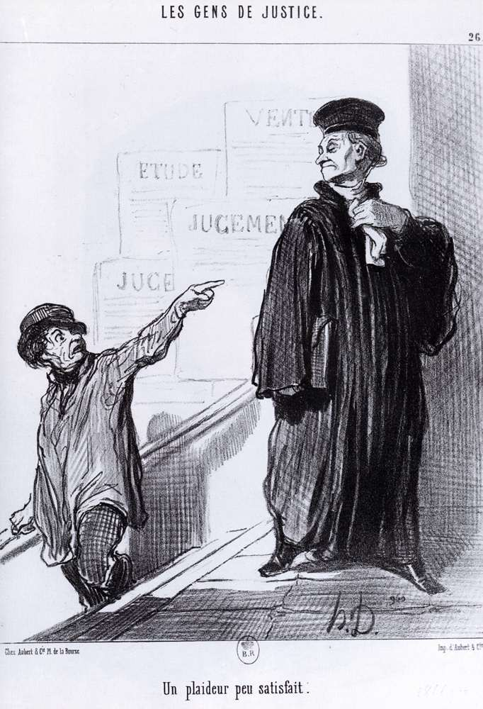 Una parte in causa Disgruntled, olio di Honoré Daumier (1808-1879, France)