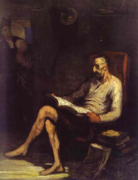Don Chisciotte Reading, olio di Honoré Daumier (1808-1879, France)