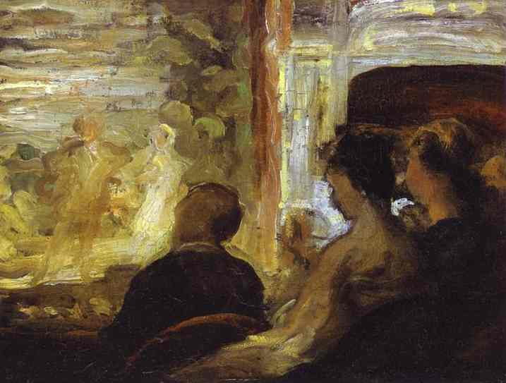 teatro box, olio di Honoré Daumier (1808-1879, France)