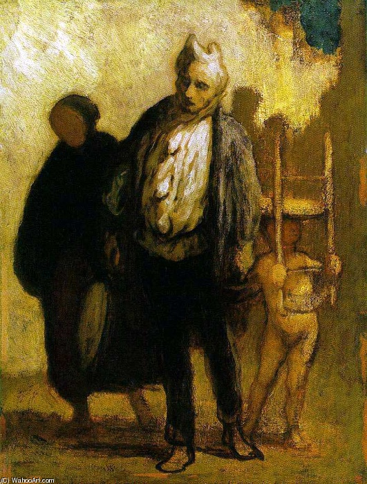 Wandering Saltimbanques, olio di Honoré Daumier (1808-1879, France)