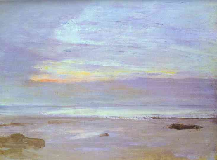 Crepuscule in Opal, Trouville, olio di James Abbott Mcneill Whistler (1834-1903, United States)