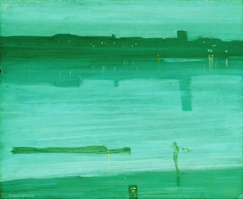 notturno in blu e verde , Chelsea, olio di James Abbott Mcneill Whistler  (ordinare Belle Arti stampa fine art James Abbott Mcneill Whistler)