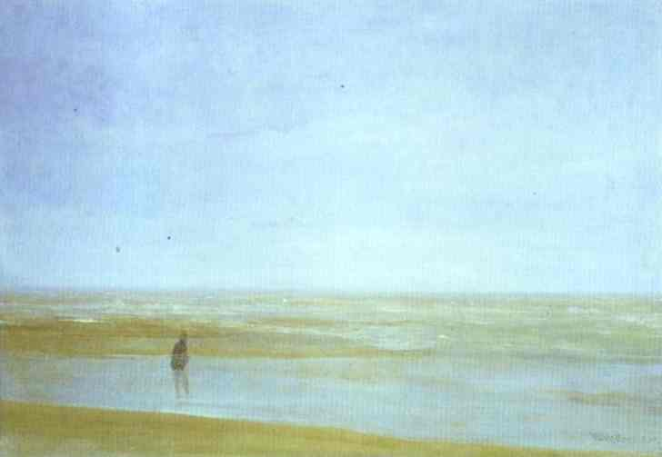 mare e pioggia, olio di James Abbott Mcneill Whistler (1834-1903, United States)