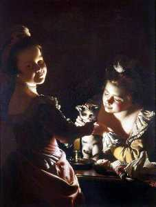 Joseph Wright Of Derby - Due ragazze Dressing un Kitten by Candlelight