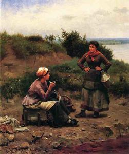 Daniel Ridgway Knight - Un Discussione tra due Young Signore