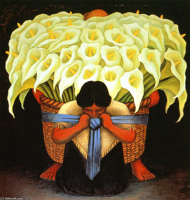 Gustavo Poblete Catalán (1915 - 2005) Diego-Rivera-Flower-Seller-1