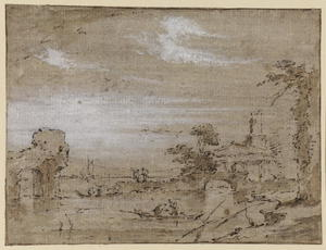 Francesco Lazzaro Guardi - Lagoon capriccio (recto)