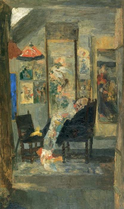 Squelette regardant des chinoiseries, olio di James Ensor (1860-1949, Belgium)