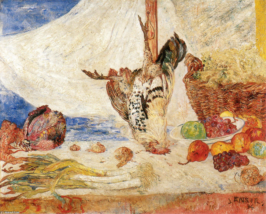 The Dead Galletto, olio di James Ensor (1860-1949, Belgium)