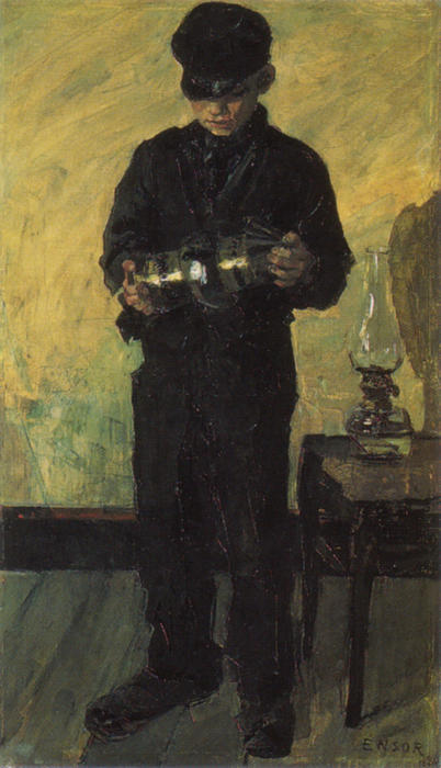 I Lamp-Boy ( il `lamplighter ) di James Ensor (1860-1949, Belgium) | WahooArt.com