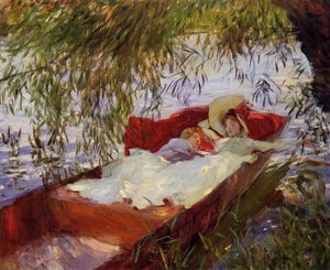 John Singer Sargent - due donne asleep in un punt sotto i salici