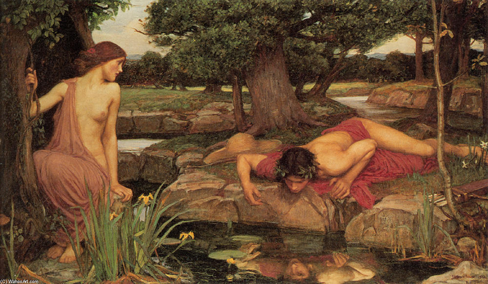 ECO e le  Narciso , 1903 di John William Waterhouse (1849-1917, Italy) | Riproduzioni Di Belle Arti John William Waterhouse | WahooArt.com